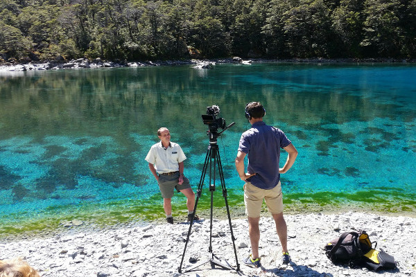 Filming at Blue lake in the Nelson Lakes National Park.
